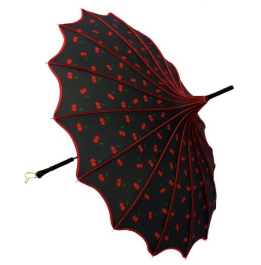 Black with Red Cherries Vintage Pagoda Shaped Umbrella