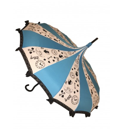 Sky Blue & White with Black Patterns Carousel Shaped Umbrella