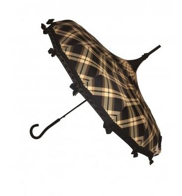 Brown Plaid Carousel Shaped Umbrella