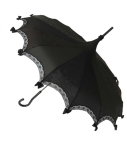 Black on Black Damask Carousel Shaped Umbrella