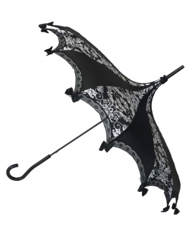 Black on White Damask Carousel Shaped Umbrella