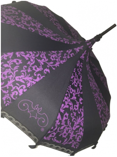 Black with Purple Carousel Shaped Umbrella