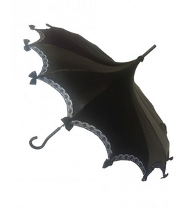 Black Satin Carousel Shaped Umbrella