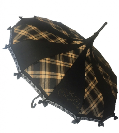 Brown Plaid with Black Carousel Shaped Umbrella