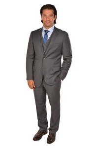 3 Piece Medium Grey Sport Fit Suit