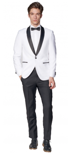 White Slim Fit Tuxedo Jacket