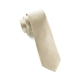 Light Champagne Native Herringbone Necktie