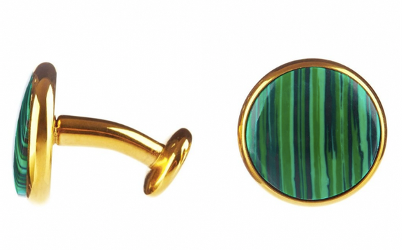 Genuine Chrysocolla Gold Plated Cufflinks
