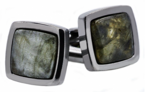Genuine Labradorite Gun Metal Plated Cufflinks