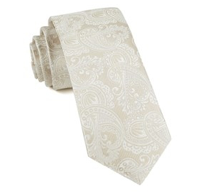 Light Champagne Paisley Necktie
