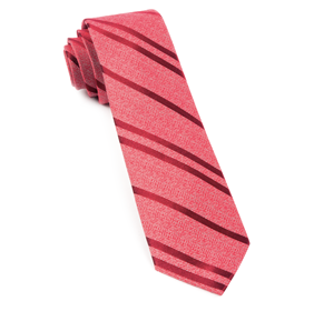 Red Wool Path Stripe Necktie