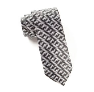 Black Native Herringbone Stripe Necktie