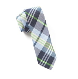 Navy Crystal Wave Plaid Necktie