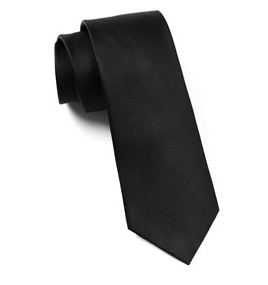 Solid Black Grosgrain Necktie