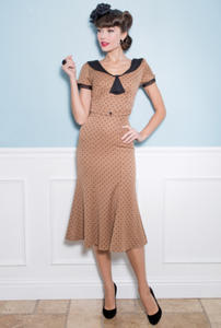 Tan with Black Polka Dots Raileen Fitted Dress by Stop Staring!