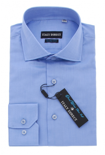 Bright Blue Slim Fit Dress Shirt