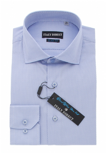 Blue Crosshatch Slim Fit Dress Shirt