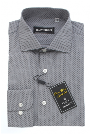 Grey Patterned Sport Fit Dress Shirt