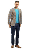 Brown and Blue Plaid Slim Fit Sport Jacket