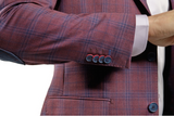 Red and Blue Plaid Slim Fit Sport Jacket