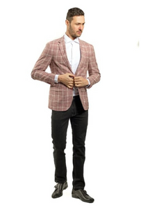 Red and White Plaid Slim Fit Sport Jacket