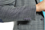Grey Plaid Slim Fit Sport Jacket