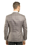 Grey and Pink Plaid Slim Fit Sport Jacket