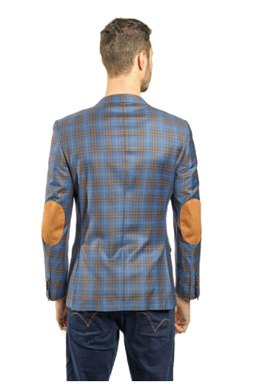Blue and Mustard Plaid Slim Fit Sport Jacket