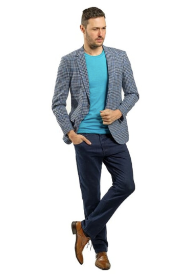 Blue and White Plaid Slim Fit Sport Jacket