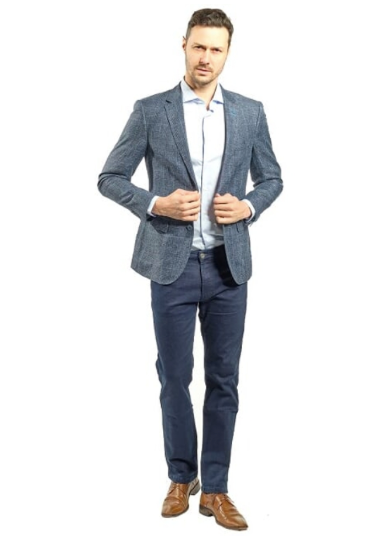 Blue Plaid Slim Fit Sport Jacket
