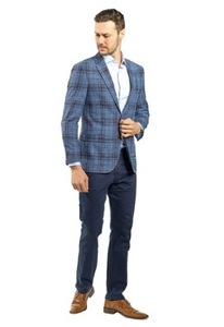 Blue and Brown Plaid Slim Fit Sport Jacket