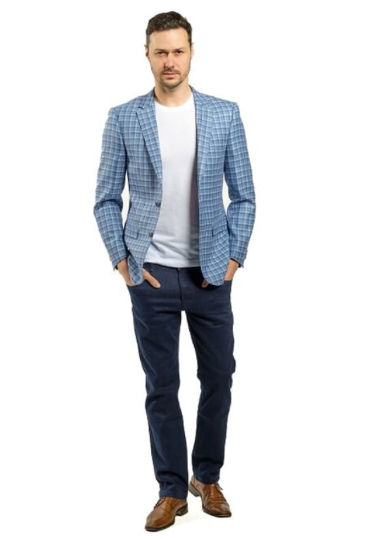 Light Blue and White Plaid Slim Fit Sport Jacket