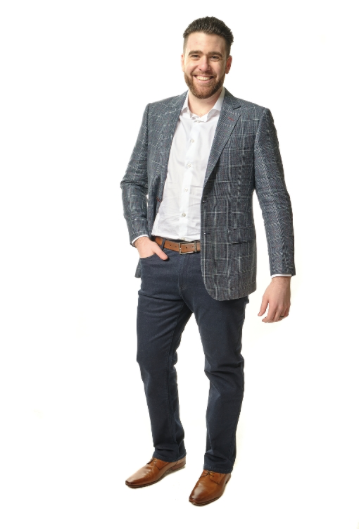 Grey and Red Plaid Sport Fit Sport Jacket
