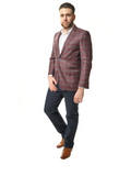 Red and Blue Plaid Classic Fit Sport Jacket