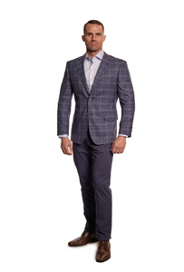 Grey and Blue Plaid Sport Fit Sport Jacket
