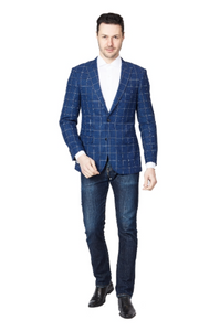 Blue Window Slim Fit Sport Jacket