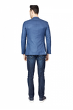 Luxurious Blue Slim Fit Sport Jacket