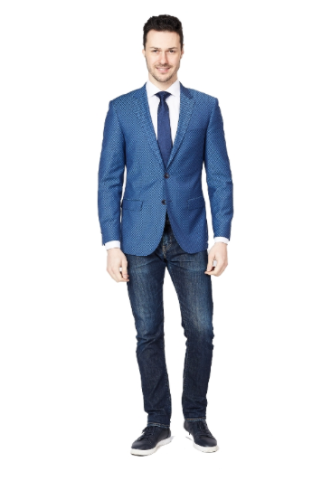 Blue Shadow Square Slim Fit Sport Jacket
