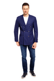 Blue Textured Blazer Slim Fit Sport Jacket