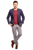 Blue Brown Microbox Slim Fit Sport Jacket
