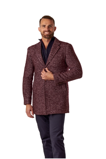 Burgundy Single Breasted Overcoat