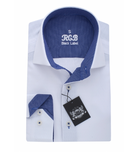 White & Blue RGB Sport Fit Casual Shirt