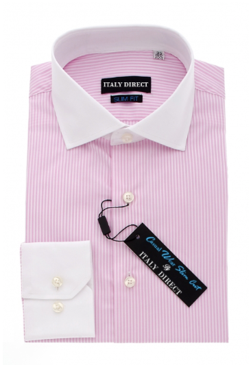 Pink & White Stripe Slim Fit Casual Shirt
