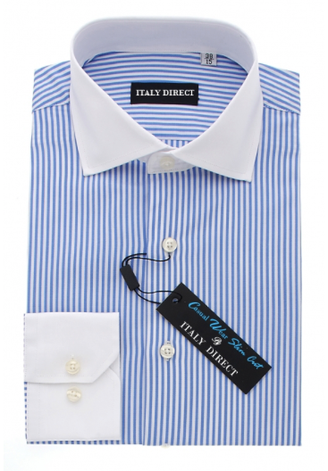 Blue & White Stripe Slim Fit Casual Shirt