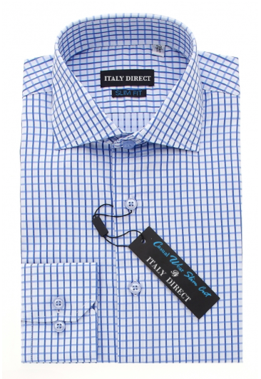 Blue & White Check Slim Fit Casual Shirt