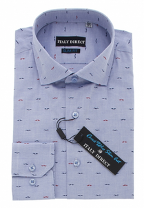 Blue Pattern Slim Fit Casual Shirt
