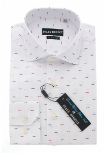 White Pattern Slim Fit Casual Shirt