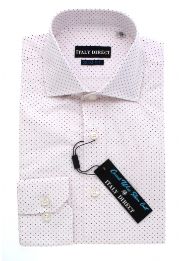 White Polka Dotted Slim Fit Casual Shirt