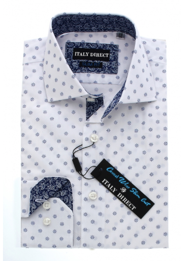 White & Blue Pattern Slim Fit Casual Shirt
