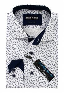 White & Navy Pattern Slim Fit Casual Shirt